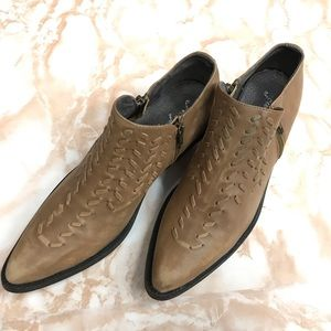 Free People Indio Dove Brown Western Woven Booties